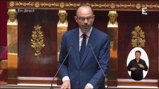 Le Premier ministre Edouard Philippe s'exprime à la tribune de l'Assemblée nationale, le 4 juillet 2017. (FRANCE 3)