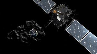 Une image de synthèse du robot Philae quittant la sonde Rosetta pour rejoindre la comète Tchouri, diffusée par l'Agence spatiale européenne le 10 novembre 2014. (ESA / ATG MEDIALAB / AFP)
