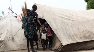 Une femme et ses enfants, membres de l'ethnie Murle dans un camp de réfugiés de la ville de Pibor, dans la province du Jonglei au Soudan du Sud, le 18 juillet 2013 (ANDREEA CAMPEANU/ REUTERS)