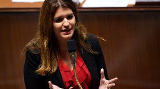 Marlène Schiappa, la secrétaire d'État chargée de l'Égalité entre les femmes et les hommes, à l'Assemblée nationale, le 6 novembre 2018. (LIONEL BONAVENTURE / AFP)