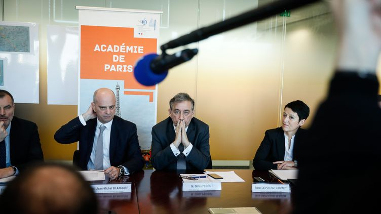 Jean-Michel Blanquer lors d'une conférence de presse au rectorat de Paris le 4 décembre 2019 pour un point sur la mobilisation des enseignants dans la perspective du mouvement contre la réforme des retraites (THOMAS PADILLA / MAXPPP)