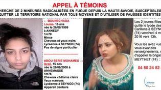 Appel à témoins diffusé le 5 mars 2016 par la gendarmerie nationale pour retrouver deux mineurs radicalisées en fuite depuis la Haute-Savoie. (GENDARMERIE NATIONALE)
