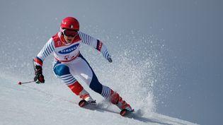 La skieuse française Marie Bochet, lors de l'épreuve de slalom féminin, aux Jeux olympiques de Pyeongchang (Corée du Sud), le 18 mars 2018. (SIMON BRUTY / OIS/IOC / AFP)