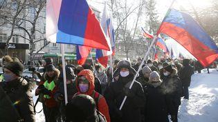 Des partisans de l'opposant russe Alexeï Navalny manifestent à Novossibirsk (Sibérie, Russie), le 31 janvier 2021. (KIRILL KUKHMAR/TASS/SIPA USA)
