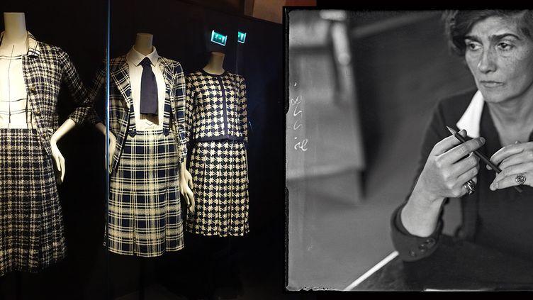 """Exposition""""Gabrielle Chanel. Manifeste de mode""""au Palais Galliera : le mythique tailleur en tweed marine et blanc (à gauche) et le portrait de Gabrielle Chanel dans les années 30 (CORINNE JEAMMET  + ANDRÈ KERTÈSZ / RMN-GP / AGENCE PHOTO DE LA RMN-GP (portrait de Gabrielle Chanel))"""