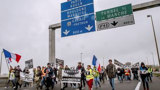 Marche des Calaisiens(Pas-de-Calais) sur l'autoroute A16, lundi 5 septembre 2016. (PHILIPPE HUGUEN / AFP)