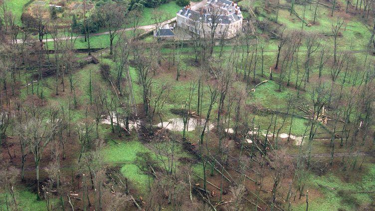 """Une vue aérienne du parc du château de Versailles, le 28 décembre 1999, après le passage de la tempête """"Lothar"""". (FRANCOIS GUILLOT / AFP)"""