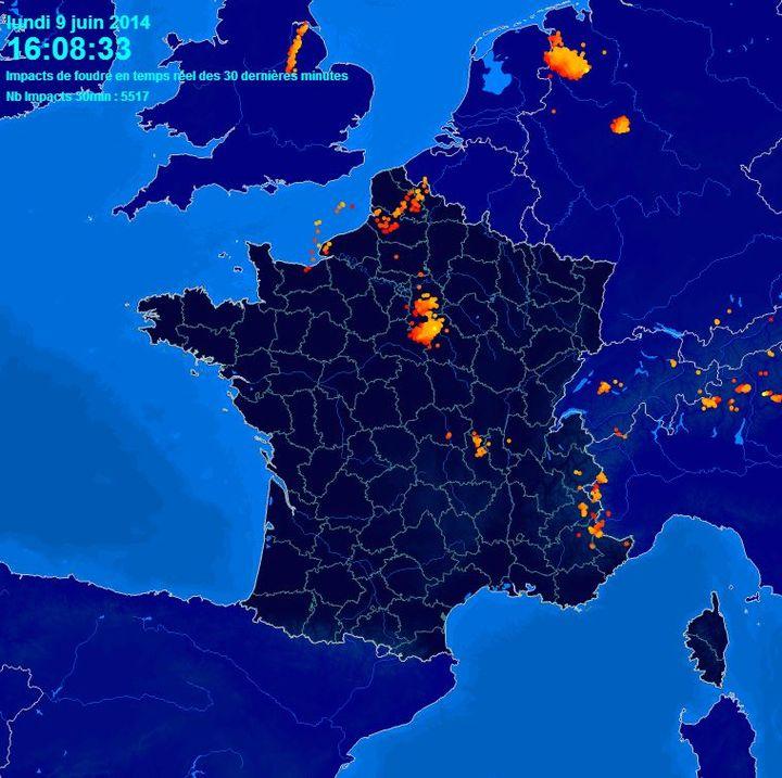 Capture d'écran du site MeteoCiel.fr, le 9 juin 2014. (METEO CIEL / FRANCETV INFO)