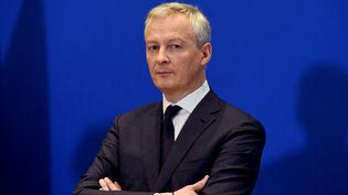 Le ministre de l'Economie Bruno Le Maire, lors d'une conférence de presse sur l'impact économique du coronavirus, le 9 mars 2020 à Paris. (ERIC PIERMONT / AFP)