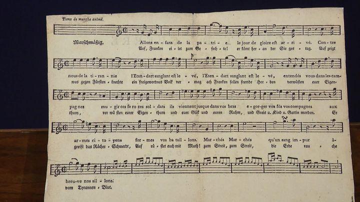 La Partition de La Marseillaise, écrite et composée par Rouget de lIsle. (D. Borrelly  / France Télévisions)