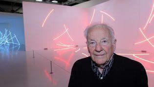 François Morellet le 28 février 2011 au Centre Pompidou, où une rétrospective lui était consacrée  (Pierre Verdy / AFP)