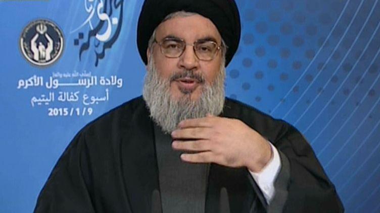 Le chef du Hezbollah libanais, Hassan Nasrallah, le 9 janvier 2015 sur la chaîne Al-Manar. (AL-MANAR / AFP)