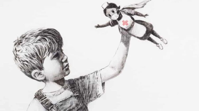 """""""Game Changer"""", une oeuvre réalisée par Banksy au profit des personnels soignants britanniques. (© BANKSY / INSTAGRAM / CAPTURE ECRAN)"""
