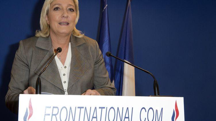 La présidente du FN Marine Le Pen, le 29 mars 2015 à Nanterre (Hauts-de-Seine). (MIGUEL MEDINA / AFP)