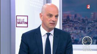 Jean-Michel Blanquer, ministre de l'Education nationale, sur France 2, le 9 novembre 2017. (FRANCE 2)