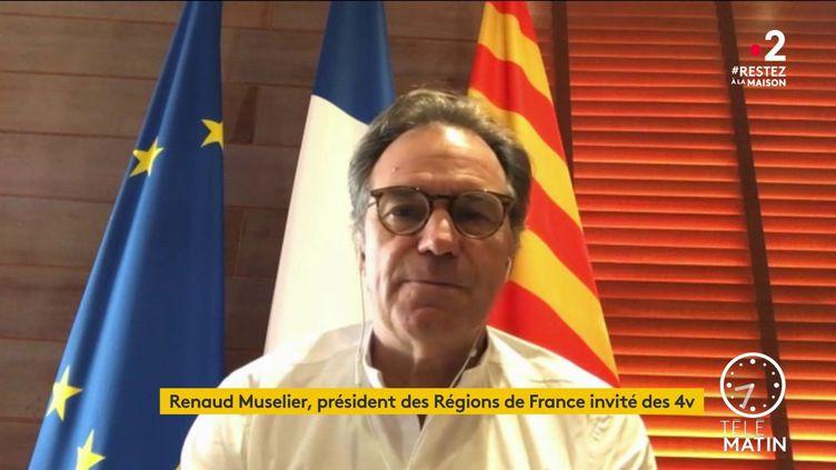 Renaud Muselier, président de l'association des régions de France et de la région Provence-Alpes-Côte d'Azur, prend la Défense du professeur Raoult, qui teste la chloroquine sur des patients. (FRANCE 2)