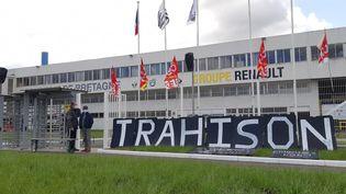 La blocage mis en place par les salariés de la Fonderie de Bretagne, le 28 avril 2021 à Caudan (Morbihan). (MAXPPP)