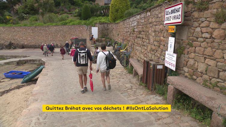 Les visiteurs arrivent sur le port de l'Île-de-Bréhat. (France 3 Rennes)