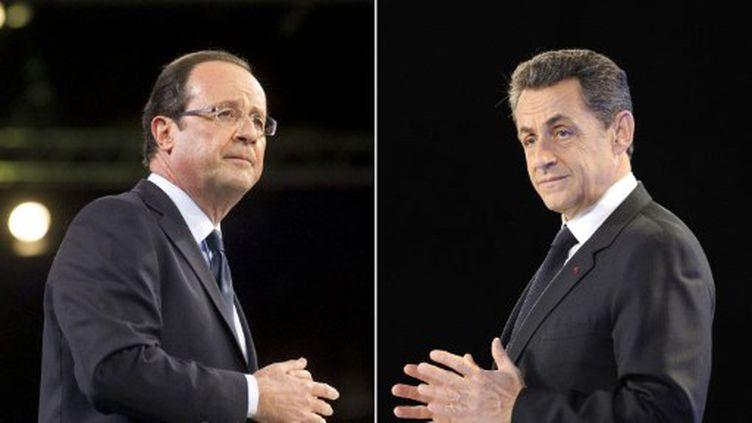 L'écart entre François Holllande et Nicolas Sarkozy augmente (OpinionWay le 26 janvier) (ERIC FEFERBERG FRED DUFOUR / AFP)