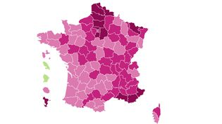 Covid-19 : carte du taux d'incidence par départementau21 février 2021. (FRANCEINFO)