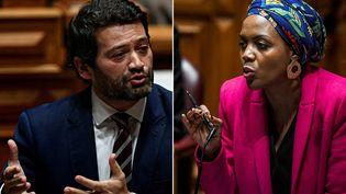 Le député d'extrême droite André Ventura ( à gauche) et la parlementaire de gauche Joacine Katar Moreira (à droite) lors d'un débat sur le bugdet de l'Etat 2020 au parlement portugais à Lisbonne. (PATRICIA DE MELO MOREIRA / AFP)