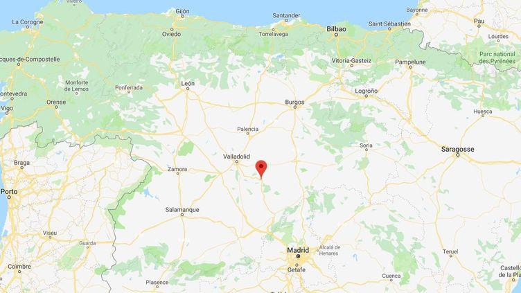 Un homme est mortaprès avoir été encorné lors d'un lâcher de taureaux à Cuellar (province de Ségovie, Espagne), le 29 août 2019. (GOOGLE MAPS)
