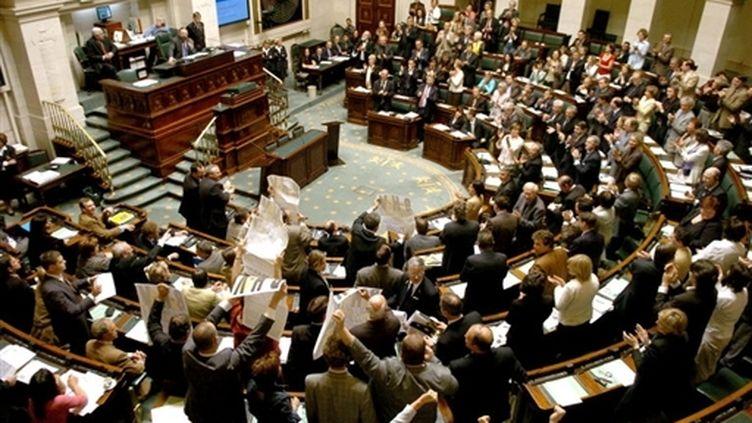 L'hémicycle du Parlement belge à Bruxelles (AFP/BENOIT DOPPAGNE)