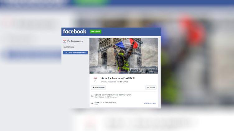 Capture d'écran d'un évènement Facebook appelantà une nouvelle manifestation le 8 décembre 2018. (FACEBOOK)