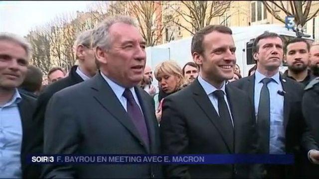 Emmanuel Macron et François Bayrou en meeting à Reims