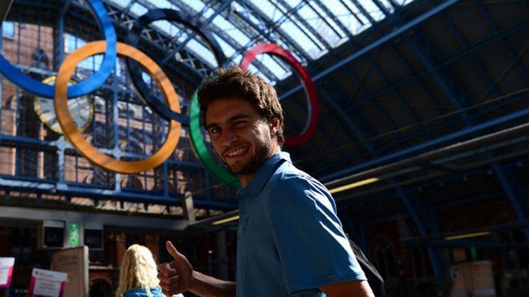 Gilles Simon lors de son arrivée à Londres