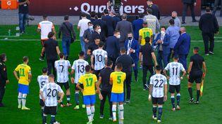 Le match entre le Brésil et l'Argentine interrompu après quelques minutes pour violation des protocoles anticovid dimanche 5 septembre. (MARCELLO ZAMBRANA / AGIF)