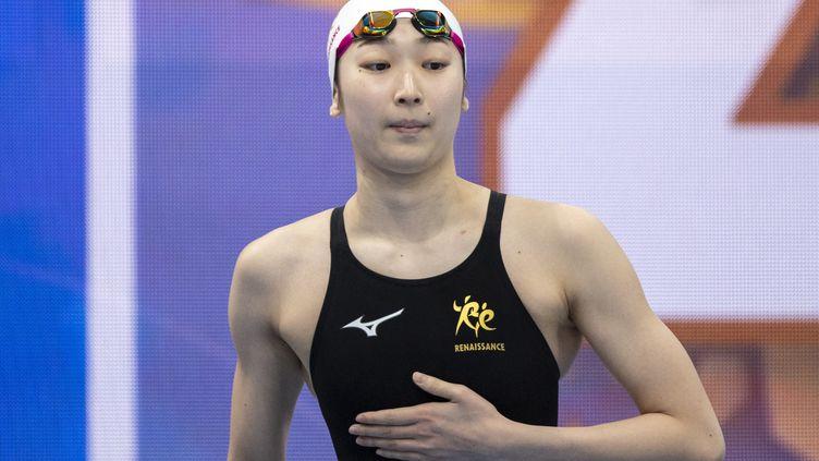 La Japonaise Rikako Ikee s'est qualifiée pour le relais 4x100 m 4 nages des JO de Tokyo, dimanche 4 avril 2021. (CHARLY TRIBALLEAU / AFP)