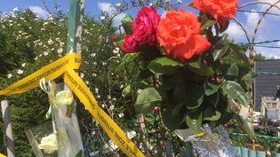 Des passants ont laissé des fleurs sur la grille du jardin où a été découvert le corps de Tom, àLe Hérie-la-Viéville (Aisne). (MATHILDE GOUPIL / FRANCEINFO)
