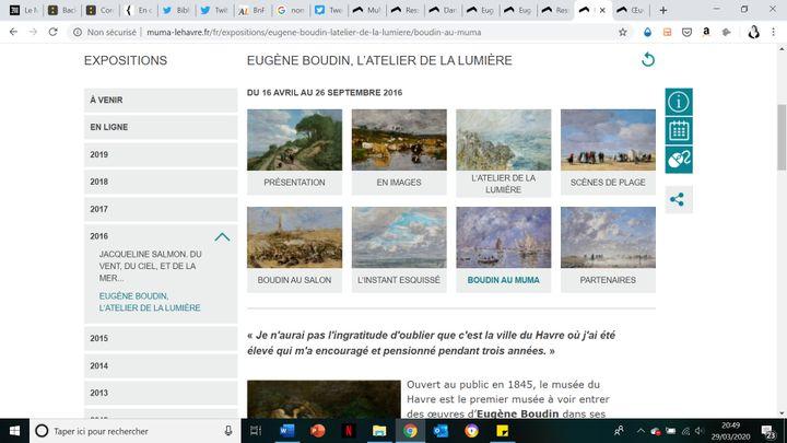 Capture d'écran du site monographique consacré au peintre Eugène Boudin, sur le site Muma Le Havre. (Muma Le havre)