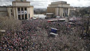 Des supporters de François Fillon,le 5 mars 2017, sur la place du Trocadéro, à Paris (THIBAULT CAMUS/AP/SIPA / AP)