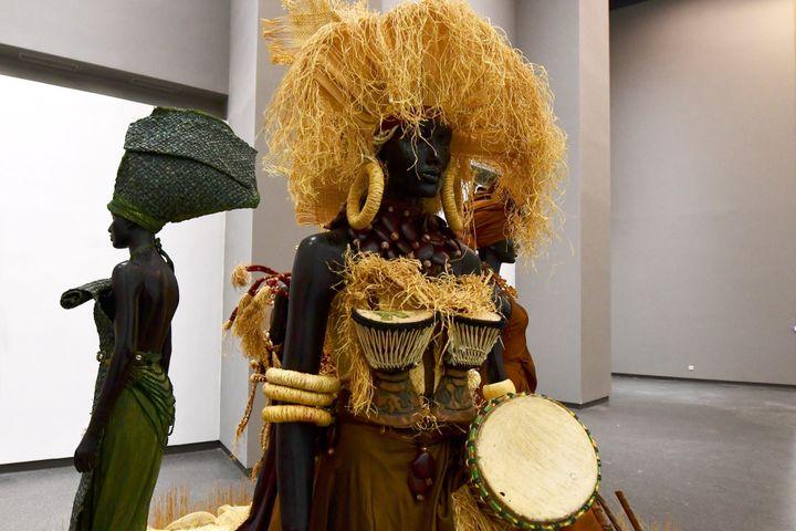 Une oeuvre exposée au nouveau Musée des civilisations noires de Dakar (6 décembre 2018)  (Seyllou / AFP)