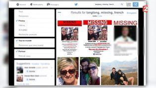 """Capture d'écran réalisée par France 2 des photos de plusieurs Français """"présumés disparus"""" par le ministère des Affaires étrangères, dimanche 3 mai,après le séisme au Népal. ( FRANCE 2 / TWITTER)"""
