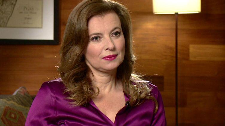 Valérie Trierweiler a commenté la politique économique de François Hollande, lors d'un entretien avec la BBC, à Londres, le 23 novembre 2014. (THE ANDREW MARR SHOW / BBC ONE / AFP)