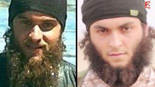 """Capture d'écran - novembre 2014 - Mickaël Dos Santos,""""Abou Uthman"""" pour son nom de combattant jihadiste à gauche et un jihadiste de l'EI vu sur la vidéo d'excésution de masse ( FRANCE 2)"""