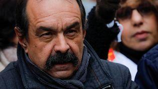 Philippe Martinez, le 5 décembre 2019 dans le cortège parisien des manifestants opposés à la réforme des retraites. (THOMAS SAMSON / AFP)