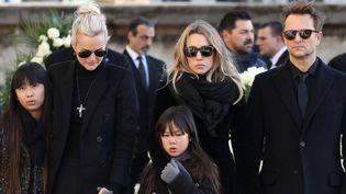 La famille Hallyday aux obsèques du chanteur, le 9 décembre 2017  (ludovic MARIN / POOL / AFP)