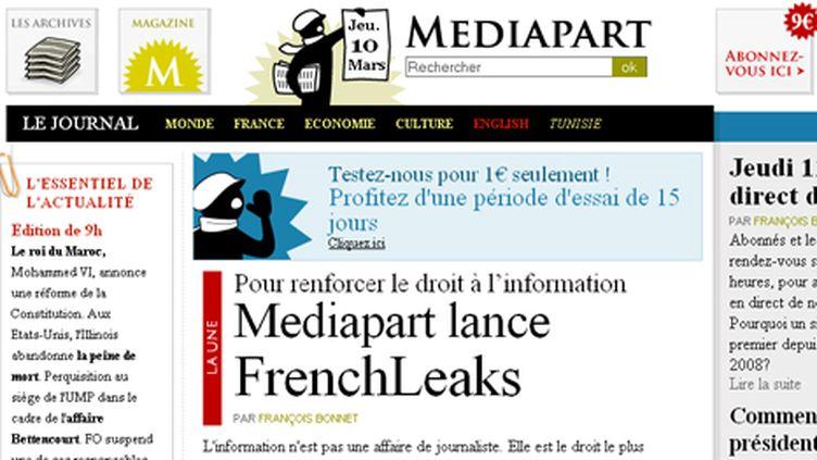 Frenchleaks n'est pas en partenariat avec Wikileaks. (Capture d'écran de la homepage de Mediapart.fr)