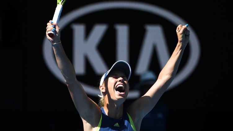 La joie de la Danoise et numéro deux mondiale, Caroline Wozniacki. (WILLIAM WEST / AFP)