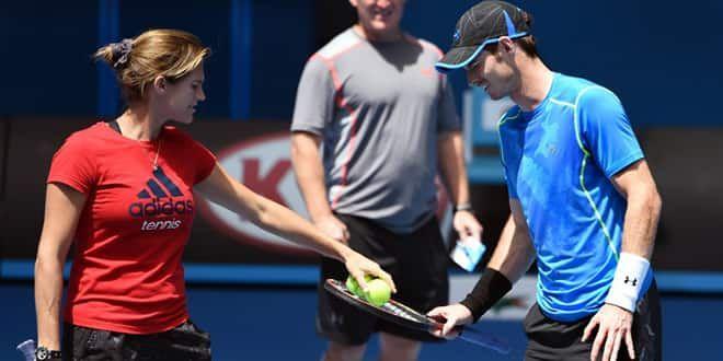 Amélie Mauresmo et son joueur, Andy Murray, à l'entraînement en Australie