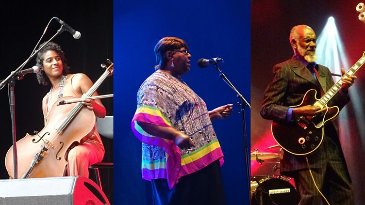 Leyla McCalla, Ester Mae Wilbourn du trio Comos Mamas, et Robert Lee Coleman de la Music Maker Blues Revue  (Jean-François Convert)