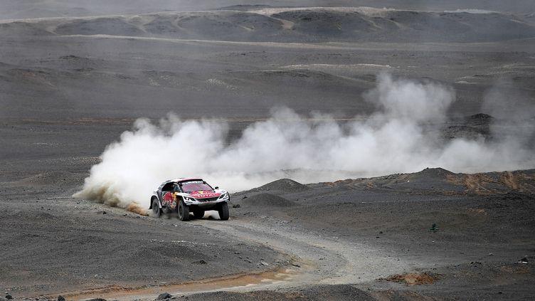 Le Français Cyril Despres (Peugeot) en pleine zone désertique. (FRANCK FIFE / AFP)