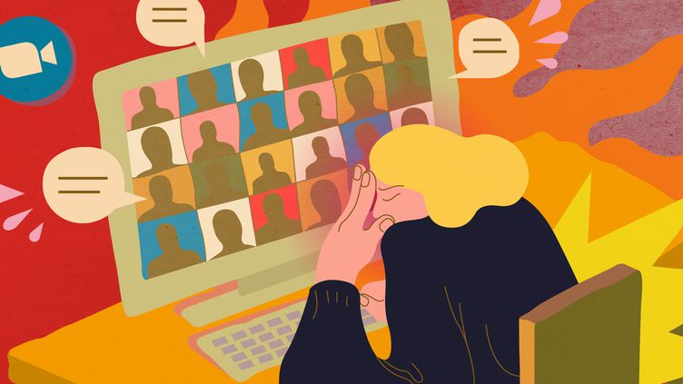 Les nombreux appels en visioconférence, imposés par le télétravail, sont source de fatigue mentale. (JESSICA KOMGUEN / FRANCEINFO)