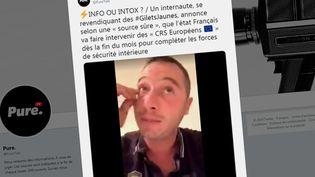 """Plusieurs internautes affirment, à tort, que des CRS européens sont venus en renfort des forces de l'ordre françaises lors des manifestations des """"gilets jaunes"""". (CAPTURE D'ECRAN TWITTER)"""