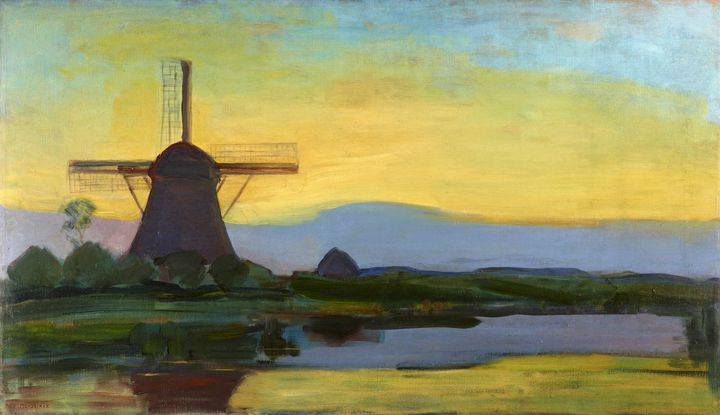 "Piet Mondrian, ""Moulin dans le crépuscule"", vers 1907-1908 (© Kunstmuseum Den Haag, The Hague, the Netherlands)"