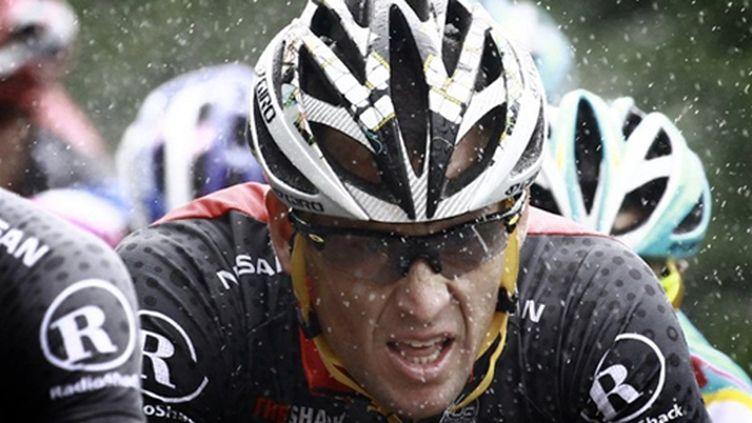 portrait Lance Armstrong sous la pluie TDF 2010